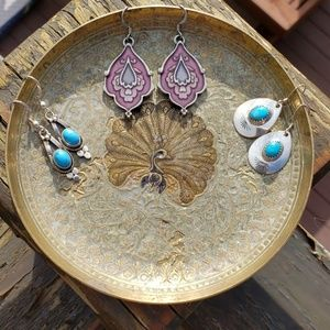 3 sets of boho style earrings! 2 pairs/Turquoise